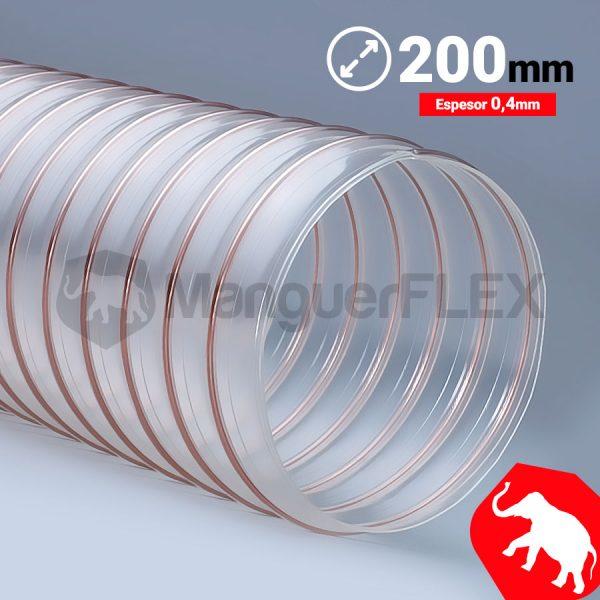 Tubo flexible aspiración 200 mm
